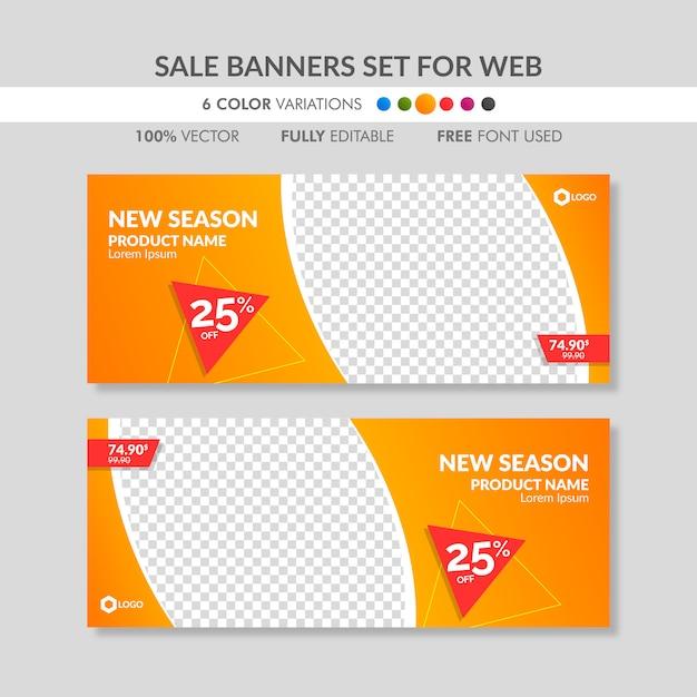Editable orange sale banner templates for web Premium Vector