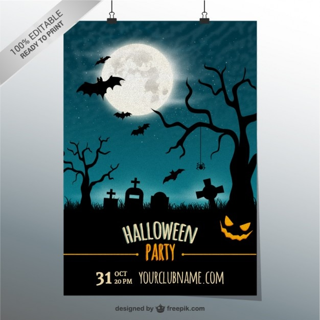 Editable party poster template for halloween Free Vector