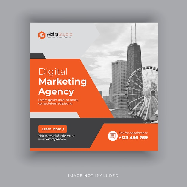 Editable post template social media banners for digital marketing Premium Vector