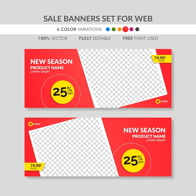 Editable red sale banner templates for web Premium Vector