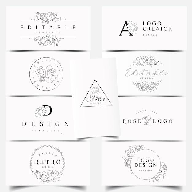 Editable rose logo designs Premium Vector