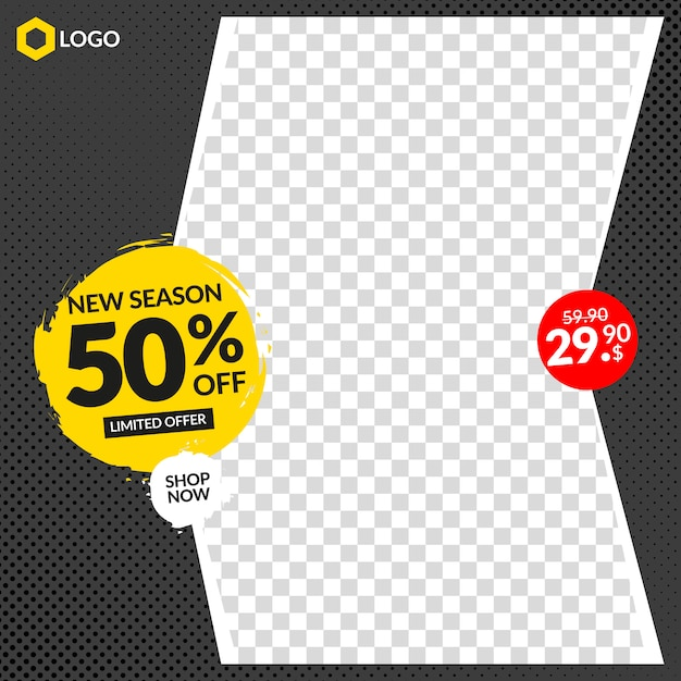 Editable sale banner for instagram and web with empty abstract frame Premium Vector