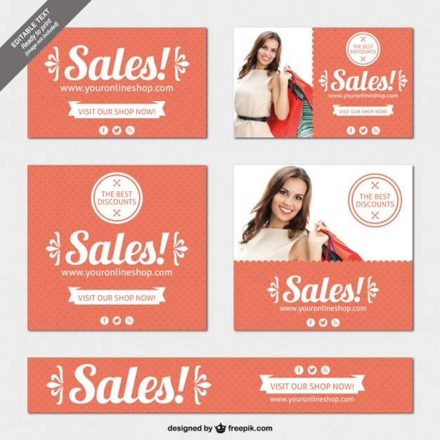 Editable sales banners pack Vector | Free Download