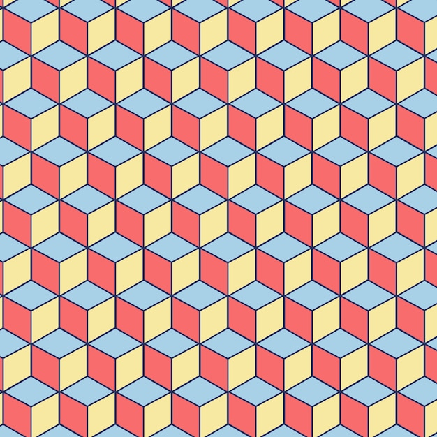 Editable seamless pattern made of pink, blue and yellow squares Free Vector
