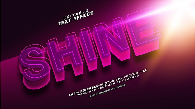 Editable shine text effect Free Vector