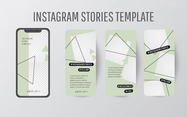 Editable story template collection with trend color and triangular shapes Premium Vector