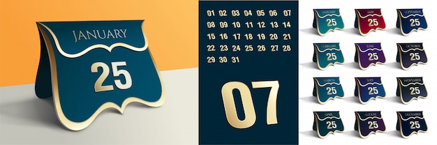 Editable table date calendar with all details Premium Vector