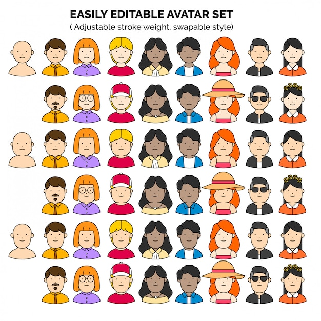 Editable teamwork avatar set Premium Vector
