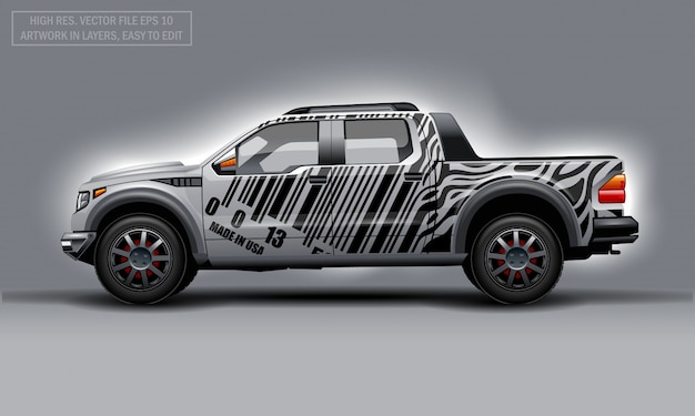 Editable template for wrap suv with bar code lines decal. hi-res vector graphics. Premium Vector
