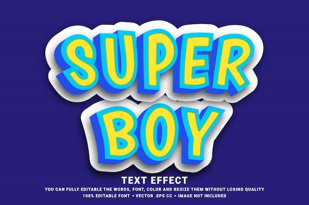 Editable text effect - 3d super boy Premium Vector