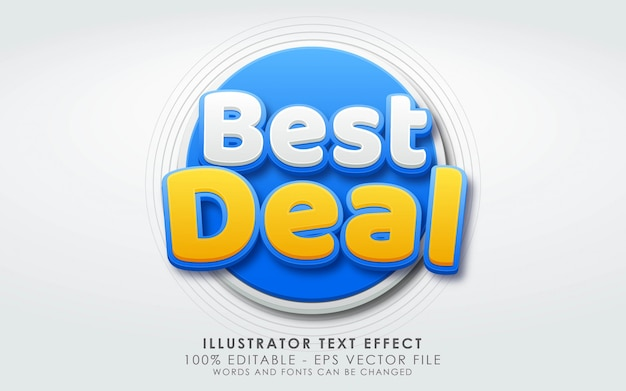 Editable text effect, best deal style Premium Vector