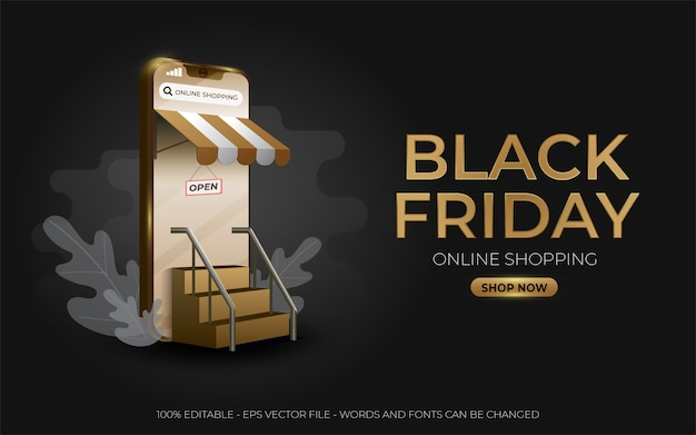 Editable text effect, black friday online shopping gold style illustrations