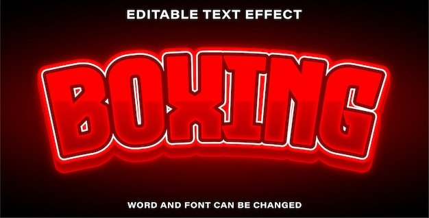 Editable text effect boxing Premium Vector