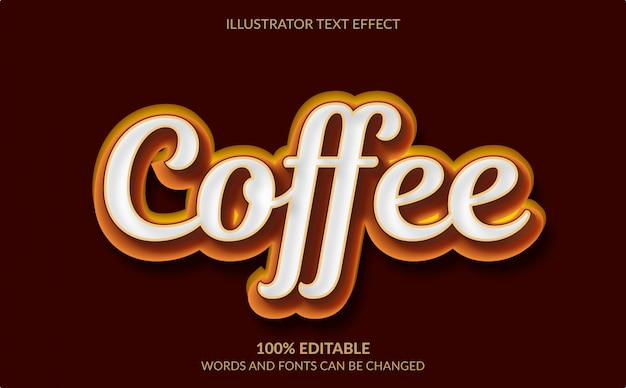 Редактируемый текстовый эффект, коричневый кофейный текстовый стиль Premium векторы