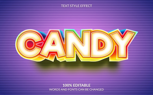 Editable text effect, candy text style Premium Vector