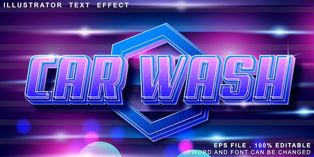 Editable text effect car wash logo Premium Vector