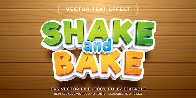 Editable text effect - cartoon baking style Premium Vector