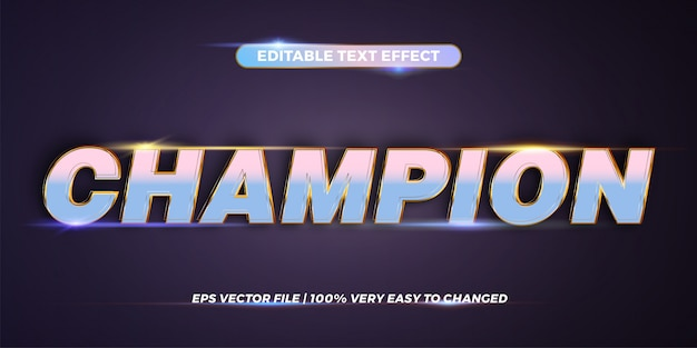 Editable text effect - champion word Premium Vector