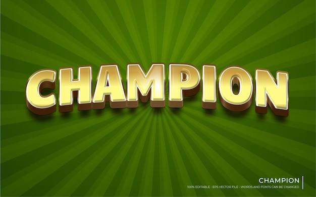 Editable text effect, champion Premium Vector