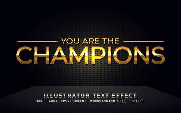 Editable text effect, champions style illustrations Premium Vector