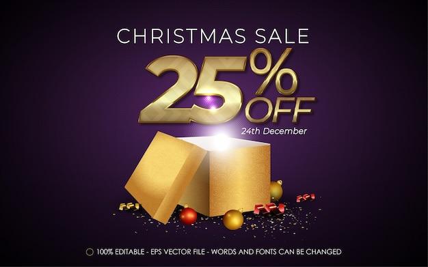 Редактируемый текстовый эффект, рождественская распродажа со скидкой 25% на иллюстрации стиля Premium векторы