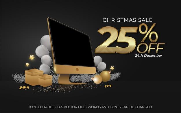 편집 가능한 텍스트 효과, 크리스마스 세일 25 % 할인 스타일 일러스트레이션 프리미엄 벡터