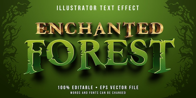 Editable text effect - enchanted forest style Premium Vector