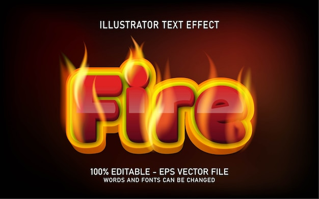 Editable text effect, fire style illustrations Premium Vector