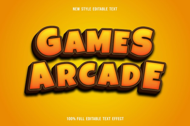 편집 가능한 텍스트 효과 게임 아케이드 색상 노란색과 갈색 프리미엄 벡터