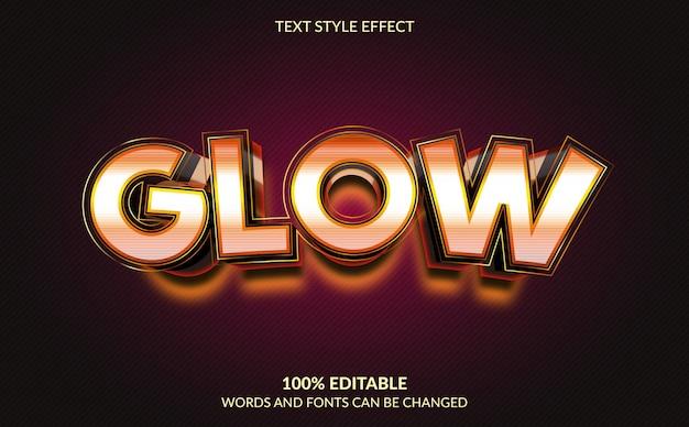 Editable text effect, glow text style Premium Vector