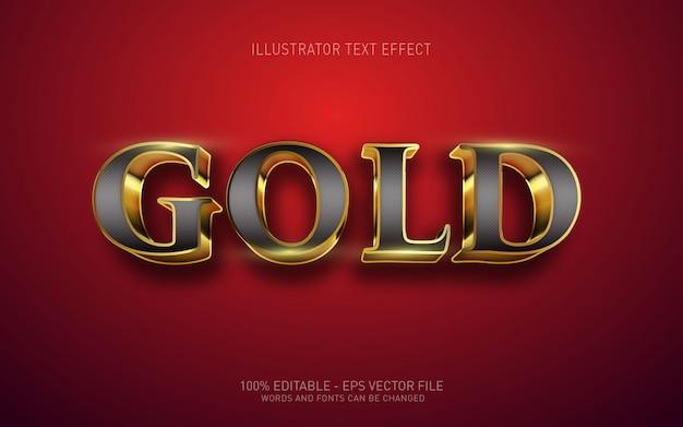 Редактируемый текстовый эффект, золотые иллюстрации в стиле 3d Premium векторы