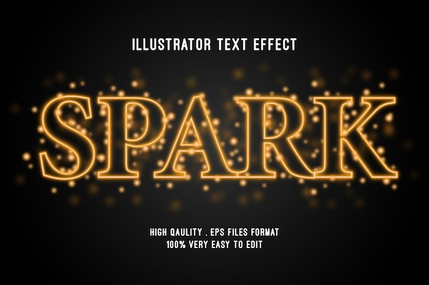 Editable text effect - gold spark style effect Premium Vector