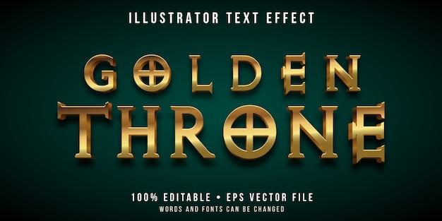 Editable text effect - gold throne style Premium Vector