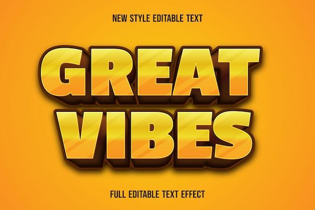 Редактируемый текстовый эффект отличных флюидов цвета желтый и коричневый Premium векторы