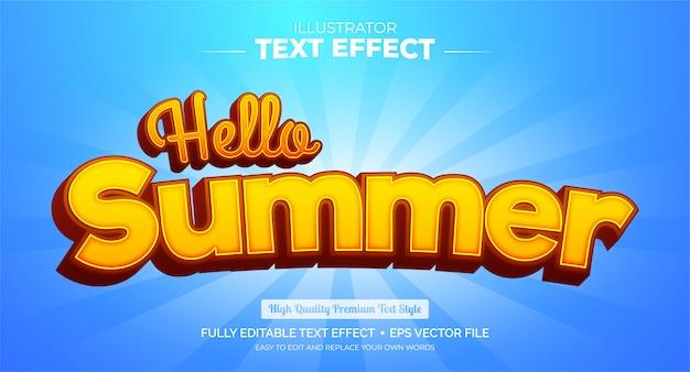 Редактируемый текстовый эффект - текстовый эффект hello summer Premium векторы