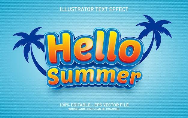 Редактируемый текстовый эффект, привет лето, иллюстрация в стиле 3d Premium векторы