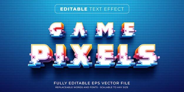 아케이드 게임 픽셀 스타일의 편집 가능한 텍스트 효과 프리미엄 벡터