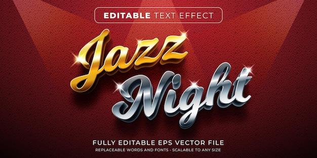 금색과 은색 음악 스타일의 편집 가능한 텍스트 효과 프리미엄 벡터