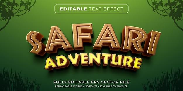 사파리 게임 스타일의 편집 가능한 텍스트 효과 프리미엄 벡터