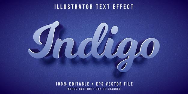 Editable text effect - indigo color style Premium Vector