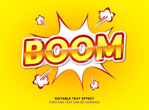 編集可能なテキスト効果、ベクターデザインの黄色と赤の色による文字ブーム Premiumベクター