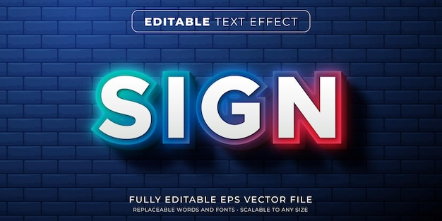 Editable text effect in neon gradient glowing sign style Premium Vector