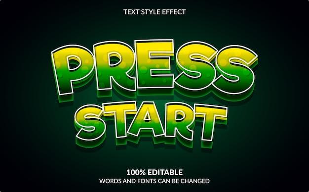 편집 가능한 텍스트 효과, 시작 누르기, 비디오 게임 텍스트 스타일 프리미엄 벡터