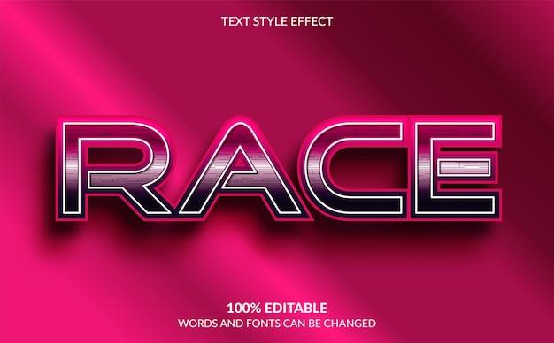 Editable text effect, race text style Premium Vector