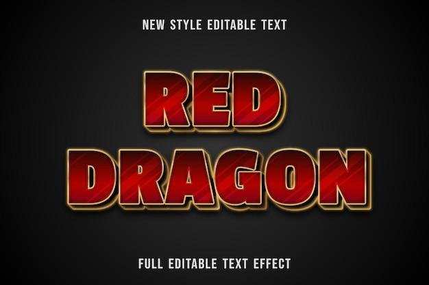 Редактируемый текстовый эффект красный дракон цвет красный и золотой Premium векторы