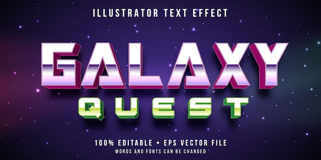 Редактируемый текстовый эффект - стиль ретро галактики Premium векторы