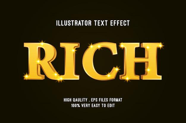 Редактируемый текстовый эффект - роскошный эффект rich gold Premium векторы