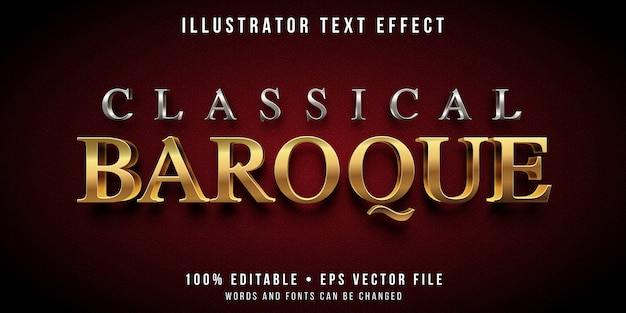 Editable text effect - silver and gold baroque style Premium Vector