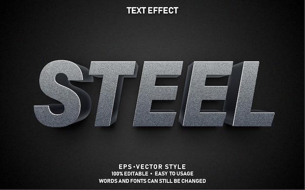 Editable text effect steel Premium Vector
