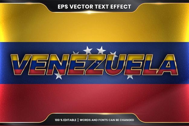 Редактируемый стиль с текстовым эффектом - венесуэла с национальным флагом страны Premium векторы